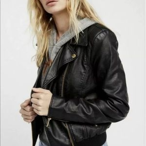 Free People bomber Vegan faux leather jacket XS